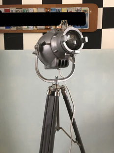 Strand Electric Lamp – Theatre lamp – on a wood/chrome stand.