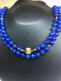 14 kt yellow gold women's necklace with lapis lazuli