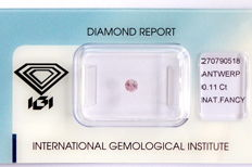Natural Fancy Pink Diamond 0.11 ct  with IGI cert ***No minimum price***