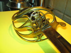 Victorian Officers sword with beautiful brass hand guard with crown and VR cipher