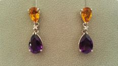 Pendants, diamonds, amethyst, citrine stones, and white gold 18kt