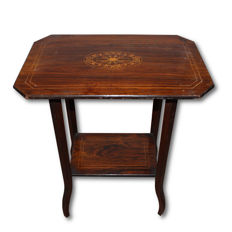 Edwardian rosewood coffee table with a maple inlay - England, second half of the 19th century