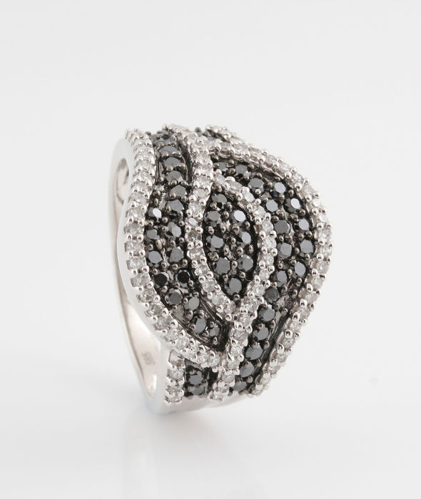 "14 kt white gold diamond ring 1.08 ct / 6.8 g / G-H & black VS1-VS2 & P1 / 56 / ""NEW"""