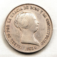 Spain – Isabel II  – 20 Reales in silver – 1854 – Madrid