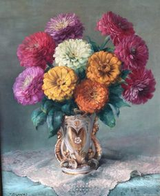 Julien Stappers (1875-1960) - Bouquet with Gerberas