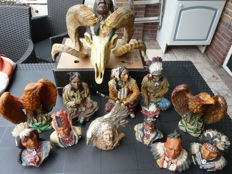 Large ram head with Indian statues - 2nd half 20 century The Netherlands