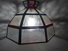 Handmade lamp in cut crystal and brass, mid 20th century