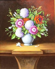 Sanchez Rámirez (20th century) - Bodegón con flores. (Still Life with flowers)