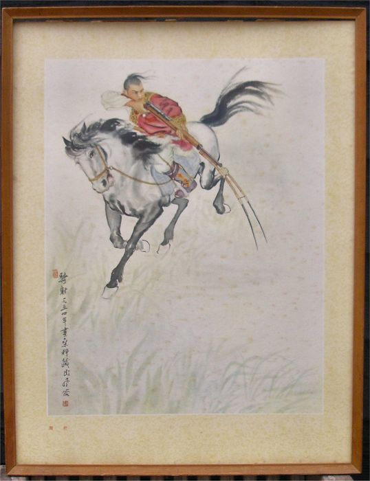 "Original Lithograph, ""Warrior on Horseback"" - China - second half 20th century"