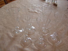 6 antique-style blown glass champagne flutes - Christian Dior - VVG