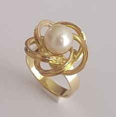Yellow gold ring with cultured pearl - Size:  16.5 mm, 12/52 (EU)