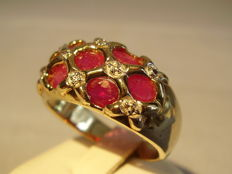 Broad cocktail ring with rubies totalling approx. 2.6 ct