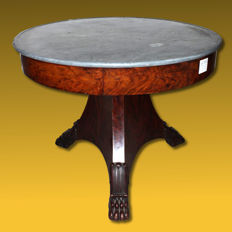 Charles X French Empire table in mahogany feather with grey bardiglio marble - first half of the 19th century
