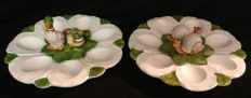 Pair of Bassano ceramics egg dishes, hand-painted - Italy, Cortina d'Ampezzo