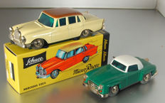 Schuco/Liliput, Hungary/Western Germany - Length cars appr. 11 cm - 2 wind-up Micro-Racers: Mercedes 220S 1048 and 190 SL 1044, 90's/2000's