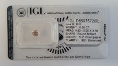 0.50 ct Round cut diamond fancy champagne SI2  IGL - No Reserve -