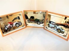Lot of 3 beautiful mirrors with antique cars - Musée National de l'Automobile Mulhouse