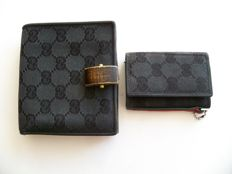 Lot of 2: Gucci bi-sided bi-fold wallet and Gucci keyholder -*No Reserve Price*