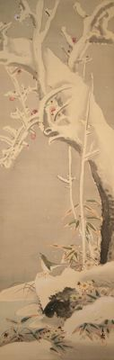 "Scroll painting ""Plum tree, snow and bird"" signed Bunrei - Japan - Mid 19th century"