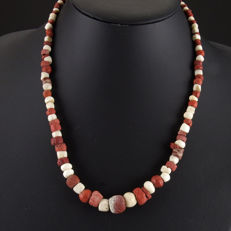 Necklace with Roman glass and shell beads - 50 cm