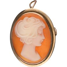 14 kt Yellow gold pendant/brooch set with cameo - Length: 2.5 cm.