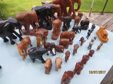 Collection of 37 wooden elephants