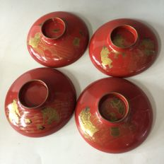 Four lacquer ware sake drinking dishes ('sakazuki') - Japan - early 20th century