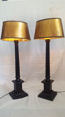 Pair of two Empire style table lamps, second half 20th century