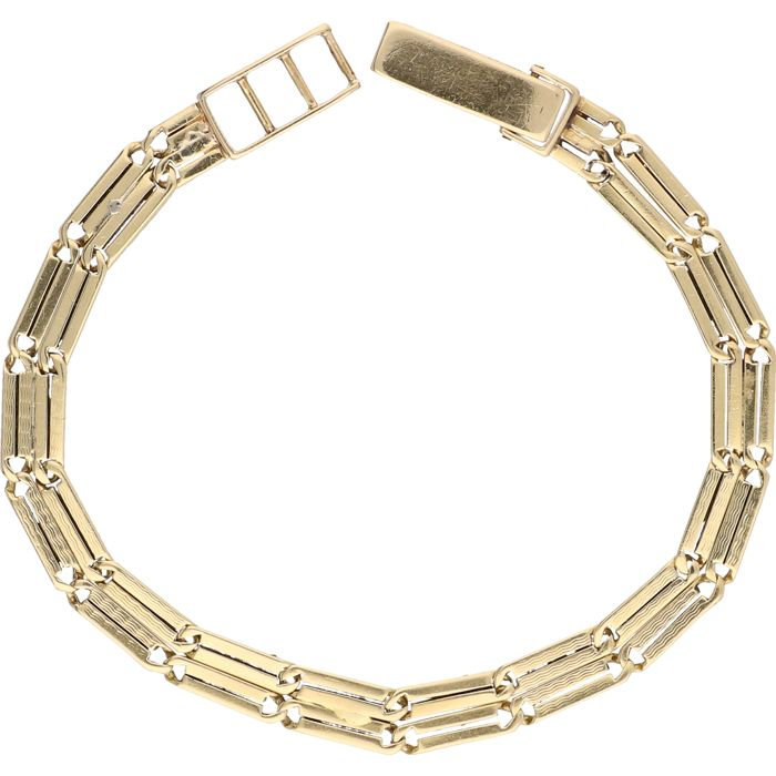 18 kt – Yellow gold, two-row, decorated link bracelet – Length: 17.5 cm
