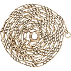 14 kt yellow gold figaro link necklace - Length: 49 cm