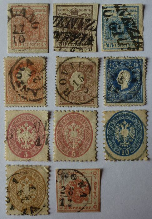 Kingdom of Lombardy-Venetia, 1850 - Selection of stamps from the period
