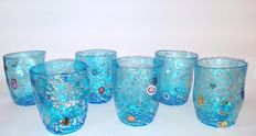 "Murano - set of 6 table aquamarine ""Goti"" with murrine and silver"