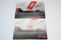 Lot of Haas F1 Team signed drivers cards