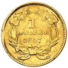 United States – 1 dollar – 1857 – Philadelphia – Gold