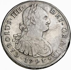 Spain – Carlos IV (1788 – 1808), 8 Reales in Silver – 1791 – Lima I.J.