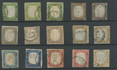 Sardinia, 1855/63 – Lot of stamps from IV of Sardinia – colour varieties