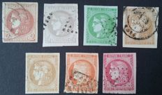 France 1870 - 7 stamps from Bordeaux, 5 of them signed Calves with digital certificates -  Yvert n° 40B, 41B, 42B, 43A, 43B, 48 and 49