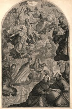 Raphael Sadeler II ( 1584 - 1632) - The Vision of St Dominic and St Francis - After Paolo Piazza (1560-1620) -  1607