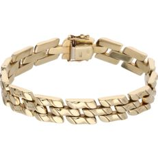 14 kt - Yellow gold tooled link bracelet - Length: 18.5 cm
