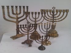6 Jewish copper brass candle holders - Menorahs - Jerusalem - 2nd half of 20th century