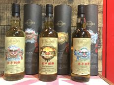 3 bottles - Lady of the Glen - 'Anqing Sword Lion Series' - Braes of Glenlivet 1994 - Clynelish 1997 and Tobermory 1995