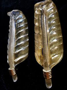 Attr. Barovier & Toso - Pair of Leaf Wall Sconces Gold and Clear Rugiadoso