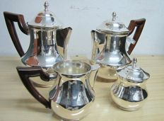 4-piece silver tea set made in Italy 1998-wood handles - Handmade in Italy - never used