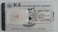 1.08ct   RADIANT  cut diamond NATURAL  FANCY Campagne VS2 IGL -No Reserve