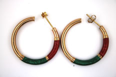 Creole earrings made of 585 yellow gold, enamelled – 30.5 mm