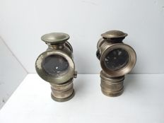 2 copper carbide lamps - 1 x Hassia - Belgium - 1 x without brand mark - ca. 1950