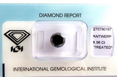 Natural Black Diamond, 1.56 ct, with IGI certificate ***No minimum price***