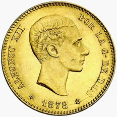 Spain – Alfonso XII – 25 pesetas gold coin – 1878 – Madrid DEM.