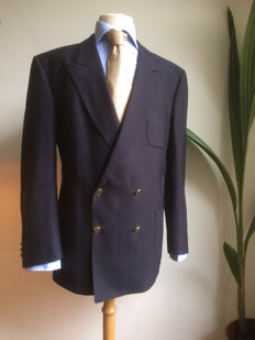 Burberry Prorsum - Double-breasted blazer with gold buttons.
