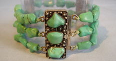 Three-piece bracelet made of natural turquoises